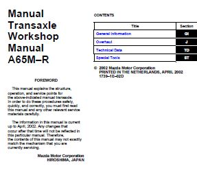 Mazda 6 2002 Transaxle A65M-R Workshop Service Repair Manual
