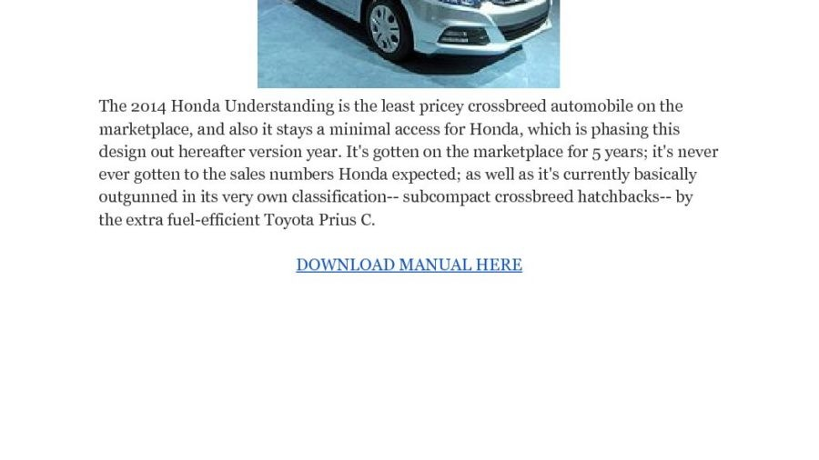 Honda Insights 2010-2014 Workshop Service Repair Manual