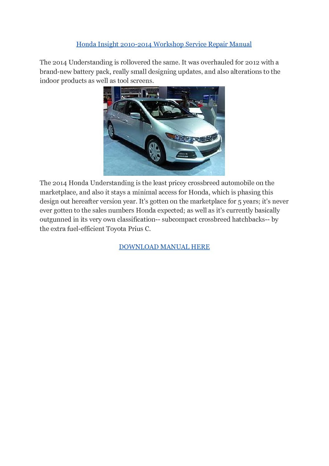 Honda Insight 2010-2014 Workshop Service Repair Manual