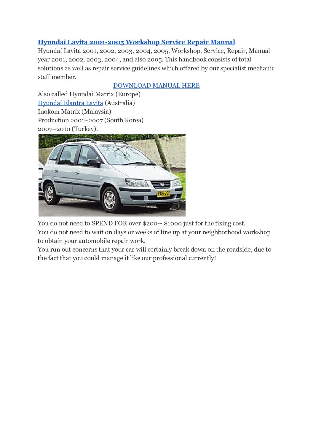 Hyundai Lavita 2001-2005 Workshop Service Repair Manual