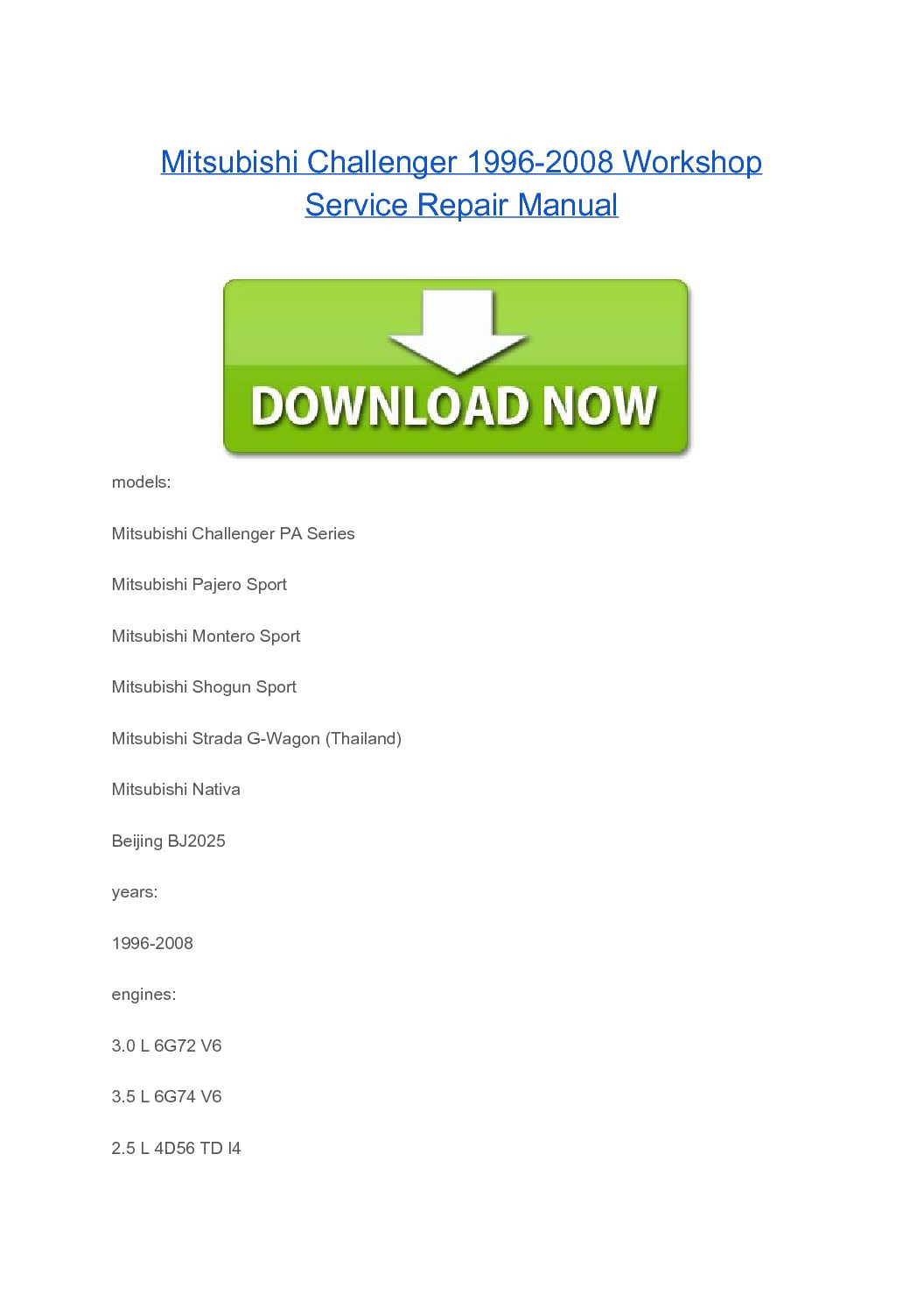 Mitsubishi Challenger 1996-2008 Workshop Service Repair Manual